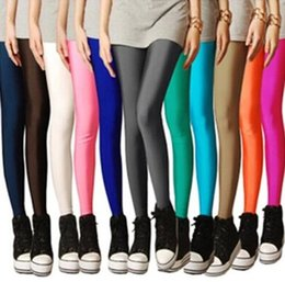 Women Candy Colored Fluorescent Leggings Fashion Slim Pencil Pants Elastic Tights Pants Xmas Long Trousers With Pocket