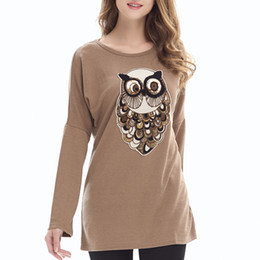 Women's 2018 Spring and Autumn fashion loose large size crew neck bat sleeve owl long-sleeved women's sweaters
