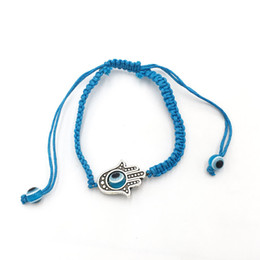 Lucky Large Hamsa Evil Eye Sky Blue String Kabbalah Bracelets,Free Size 12pcs Lot Free Shipping~