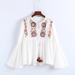 Euro Fahion Women Clothes O-neck embroidery Floral Bell sleeve women blouse lady charm top shirts