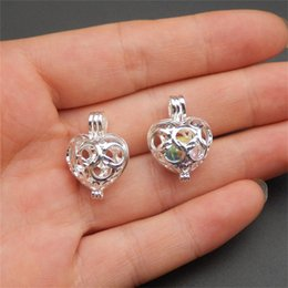 10pcs Silver peach heart Pearl Cage Jewelry Making Supplies Bead Cage Pendant Aroma Essential Oil Diffuser Locket For Oyster Pearl
