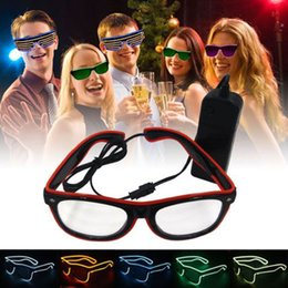 LED Party Glasses Fashion EL Wire Glasses Birthday Christmas Halloween Party Bar Decorative Supplier Luminous Glasses Eyewear Funny Shinning