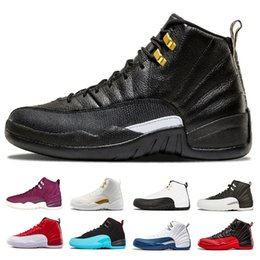 Designer 12 mens Basketball Shoes White Black Gym red flu game taxi playoffs University blue the master Sneaker Sports trainer shoes us 8-13