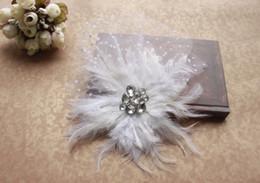 Attractive Vintage White Net Feather Pearl Birdcage Veil Headpiece Head Veil Wedding Bridal Accessories