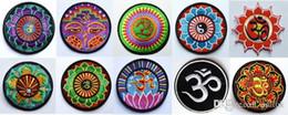 Free Shipping! 10 kinds of yoga lotus retro hippie applique iron-on patch iron on applique motif, garment embroidery Biker DIY