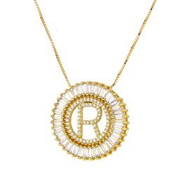 Golden Color Copper White Cubic Zirconia 26 English Words Letters Pendant Necklaces Women's Fashion Jewelry