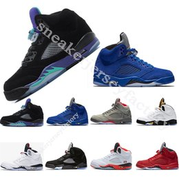 [Box] Olympic basketball shoes 5 5s Black Grape blue suede Mens athletic shoes Red suede white Cement space jam Oreo OG Metallic sneakers