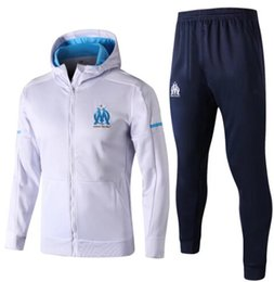 Top quality 2017 2018 Olympique Marseille Soccer Tracksuit jacket Plus cashmere with hat GOMIS CABELLA PAYET SANSON football training kit