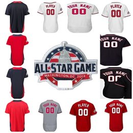 American National League World USA Custom 2018 All-Star Futhers Game Any Name & NO. Baseball Jerseys Washington Blue Red Mens Womens Youth