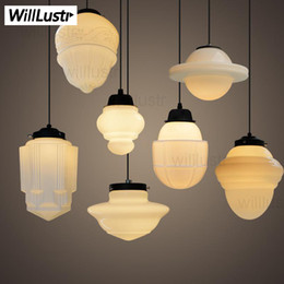 Art Deco vintage milk glass pendant lamp white glass pendant light Northern Europe suspension lighting nordic light dinning room shop hotel