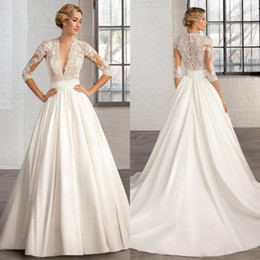 2018 Ivory A Line Satin Wedding Dresses Half Sleeves Sheer Deep V Neck Appliques Cosmobella Hollow Back Court Train Bridal Gowns BA2279