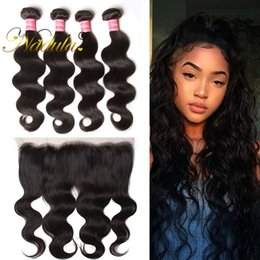 Nadula Brazilian Body Wave Virgin Hair Extensions 3-4Bundles With1 Free 13*4Lace Frontal Human Hair Weave With Closure Hair Wefts Wholesale