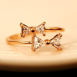 Korean Brand Designer Cubic Zirconia Bowknot Ring Fashion Gold Plated Charms Rings for Women