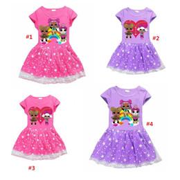 Summer Surprise dress cartoon Stars Moon short sleeves lace dresses Kids clothes Girls Princess Dresses b1555