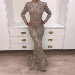 Real Pictures 2018 Crystal Evening Gowns Dark Champagne O-neck Prom Dresses Long Sleeve Shiny Sliver Yousef Aljasmi Mermaid Party BA8106