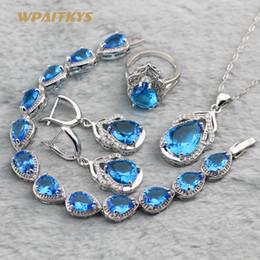 Blue Women Wedding Jewelry Sets - Wholesale Water Drop AAA Zircon Silver Plated Necklace Earrings Ring Bracelet For Women Rings Size 6-10