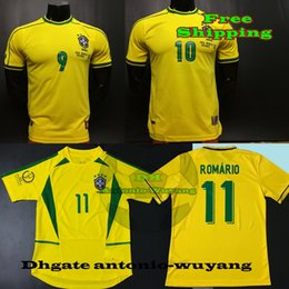 1994 Brasil World 1998 National 2002 Brazil Retro RONALDINHO ROMARIO RONALDO RIVALDO ADULT home Soccer Jersey Football uniforms sales