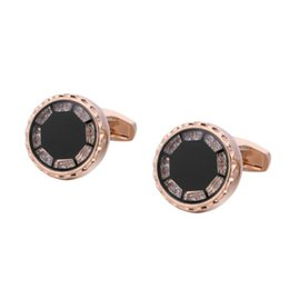 Rose Gold Men's Diamond Crystal Cufflinks Wedding business supplies Men's Shirt French Style Cuff nails Free shipping