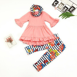 Boutique Kids High Low Outfit Two Pieces 3 4 sleeves Top And Pants For Toddler Girls