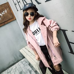 Girl Coat Little Girl Spring and Autumn Princess Trendy Long Sleeve Coat Lapel Hooded Fashion 2018 New Korean Childrens Clothes A84
