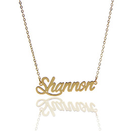 "Fashion ladies jewelry Personalized Name Necklace Tag "" Shannon "" Stainless Steel Gold and Silver Customized Name Necklace ,NL-2398"