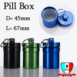 Pill Box Hot Waterproof Aluminum Medicine Pill Box Case Bottle Cache Holder Keychain Container Multicolor High Quality Free Shipping