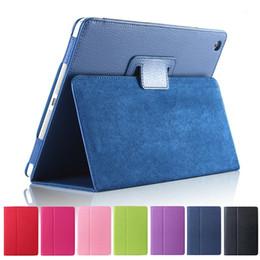 For iPad Pro 9.7 10.5 Litchi Leather Smart Case Flip Folding Folio Cover For iPad Air 2 Mini 2 3 4