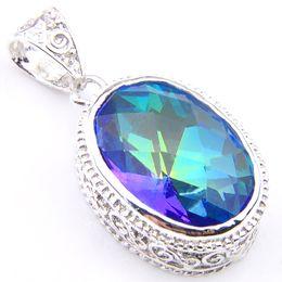 Fashion Jewelry Luckyshine 5 pcs Lot Vintage Colored Bezel Setting Mystic Topaz Gemstone 925 Silver Pendant Trendy Weddings Jewelry Gift