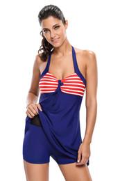 Women's Elegant Striped Sling Dress Swimsuit Flower Dress Large Size Swimwear Code S to XXL