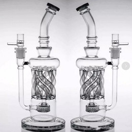 32cm Tall Two Functions Recycler Oil Rigs Glass Bongs Inline Percolator Smoking Bongs Dab Rigs Water Pipes Beaker Artistic Glass Hookahs