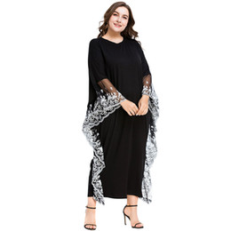 3187020 Muslim Women Abaya Style Bat Sleeves Embroidered Long Skirts Plus Size Muslims Robe Loose Big Yard Women's Dress Mujer Vestidos