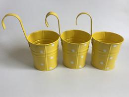 Yellow Hanging bucket Wall Hanging Planter Iron Hook pots Flower Tub Decorative metal Planter Dot design