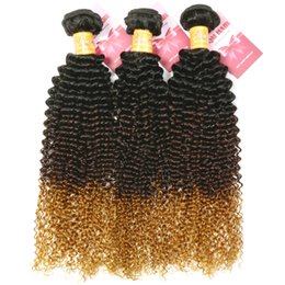8A Ombre Kinky Curly Hair Bundles Remy Brazilian Virgin Ombre Human Hair Extensions T1b 4 27 Three Tone Blonde Color
