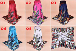 New Style 100% Satin Fashion Big Square 90x90cm Classic Paisley Scarves Printing Women Scarf Shawl 5 Colour
