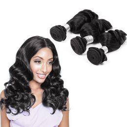 Top Selling Hair Brazilian LooseWave 100% Virgin Human Hair Weave Bundles Free Ship Natural Color 3PiecePeruvian