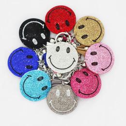 2018 new high quality Korean smiling face bag pendants Leather fashion bag pendants diamond key chains Wholesale
