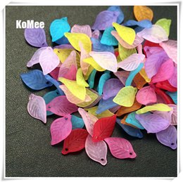 500pcs lot Acrylic Beads Supplier,Assorted Color Frosted Leaf Beads,18mm long,11mm wide, 3mm thick, With One Hole Free Shipping