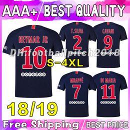 Best quality 2018 2019 NEYMAR JR soccer jersey 18 19 CAVANI DANI ALVES NEW home Di maria #7 MBAPPE football shirt PSGGG MEN Maillot de foot