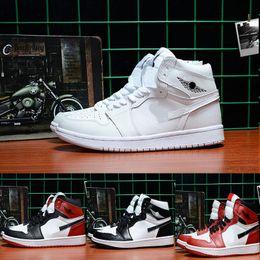 New air Retro 1 white shoe black red white men basketball shoes women sports athletic trainers retro 1 presto zapatillas speed trainer