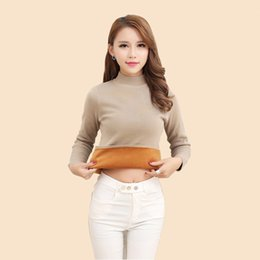Autumn and winter high-collar fashion sweater ladies plush and warm pure-color wool long sleeve short style Pullover slim knitted sweater
