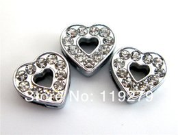 8mm full rhinestones heart slide charms SL258-3 fit for 8mm wristbands wristbands,pet collars and keychains