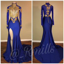 2018 Arabic Royal Blue Gold Appliques High Collar Prom Dresses Long Sleeves Sexy Thigh High Split Black Girls Evening Gowns BA7711