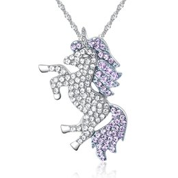 Womens Shiny Crystal Rhinestone Unicorn Pegasus Pendant Necklaces Animal Horse Neck Lace for Female Girl Fashion Jewelry