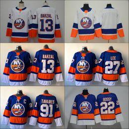 13 Mathew Barzal Jersey 2018 Season New York Islanders 27 Anders Lee 91 John Tavares 22 Mike Bossy White Blue Hockey Jerseys Cheap