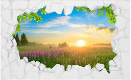 Photo Wallpaper High Quality 3D Stereoscopic Stone wall grassland sunrise landscape 3D TV background wall Wallpaper Mural Painting For Livi
