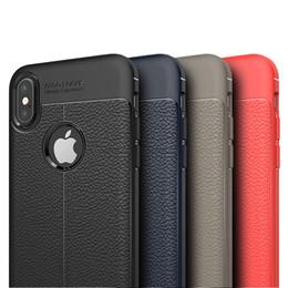 Litchi Leather Texture Anti-shock Anti-Slip Soft TPU Cover Case For iPhone XS Max XR X 8 7 Plus Samsung Galaxy S10 E M10 M20 M30 A50 A60 A70