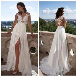 Sexy Cheap Beach Bohemian Lace Wedding Dresses Cap Sleeve Boho Chiffon Split High Side Lace Appliques Bridal Gowns Robe De Mariage BM0845