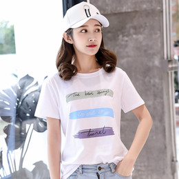 Girls wear 2018 summer Korean version of the letter printing loose thin shirt student fashion round neck short-sleeved T-shirt female