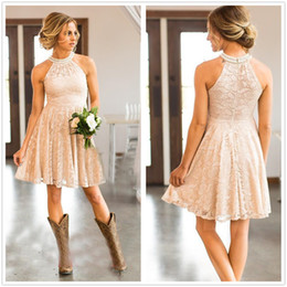 Halter Lace Knee Length A Line Country Bridesmaid Dresses Beaded Short Wedding Guest Party Bridesmaids of Honor Dresses
