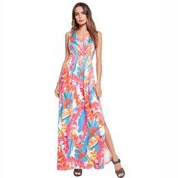 Sexy dress women's cross - stringed, Bohemian print dress with a long gown